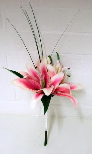 Wedding Flowers Bridal Bouquet stargazer lilies |boutonniere for the guys