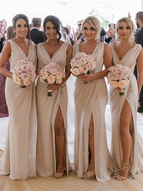 Sheath V Neck Open Back Champagne Split Long Bridesmaid Dresses