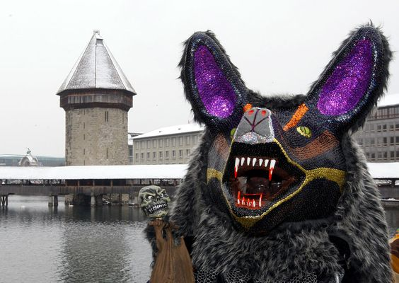 This costume appeared in Lucerne, Switzerland at Carnival.