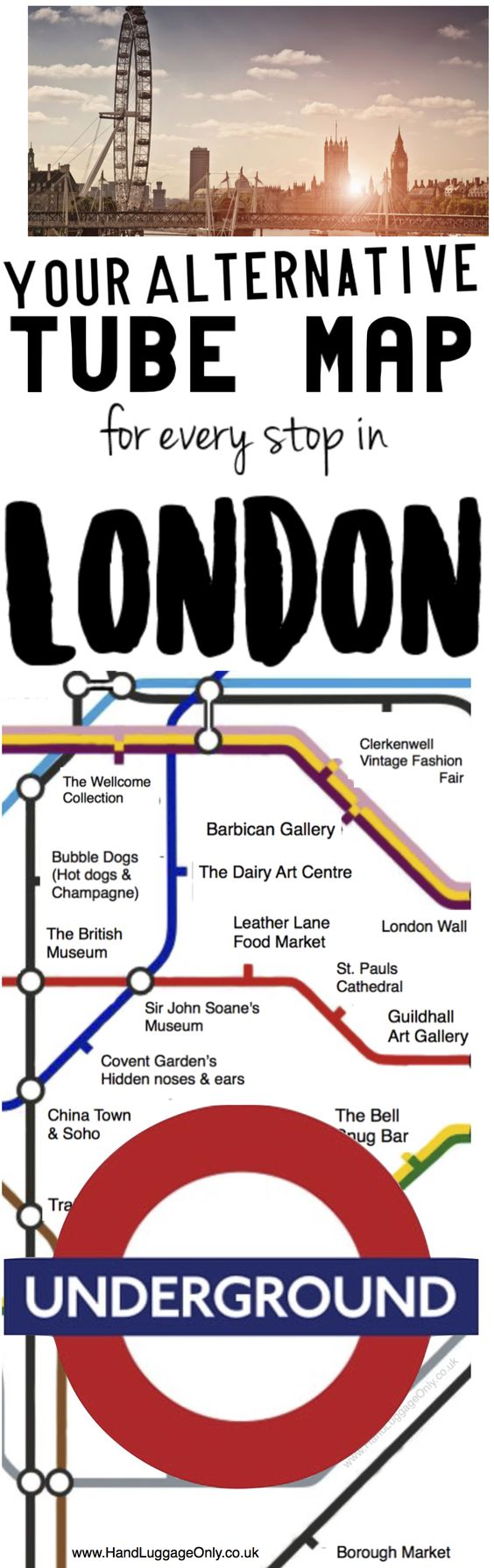 THIS ALTERNATIVE LONDON UNDERGROUND MAP SHOWS YOU WHAT TO SEE AT EVERY TUBE STOP IN CENTRAL LONDON London is a pretty epic place, though its probably expected that I'd say that seeing as it's my home but its the actual truth. 🙂 Our wonderful city is buzzing with so many amazing sights to explore which are particularly easy to get to, especially with hundreds of tube stops that are dotted across London town.