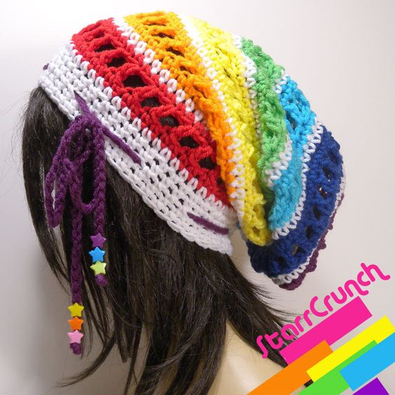 Slouchy Dread Tam Snood Crochet Hat in White and Chakra Rainbow. $26.00, via Etsy.