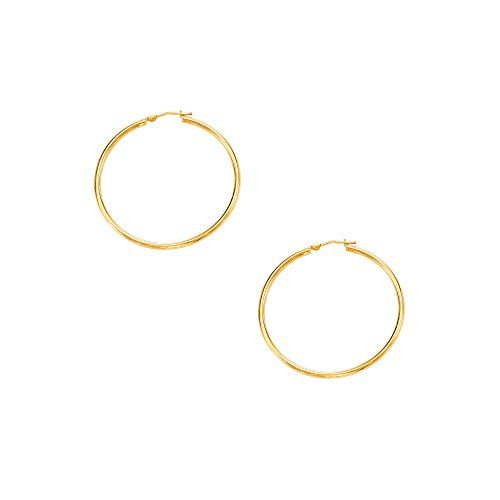 Mcs Jewelry 10 Karat Yellow Gold Rounded Hoops Earrings 2mm Thickness Available In 5 Different Sizes 40mm Mcs Jewelry Co Hoop Earrings Round Hoops Earrings