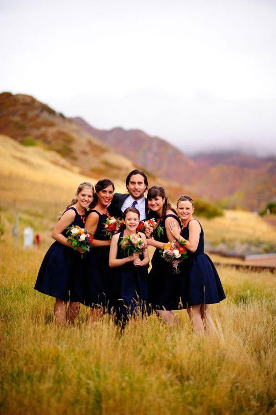 Utah fall wedding with navy bridesmaids dresses - photo by David Newkirk