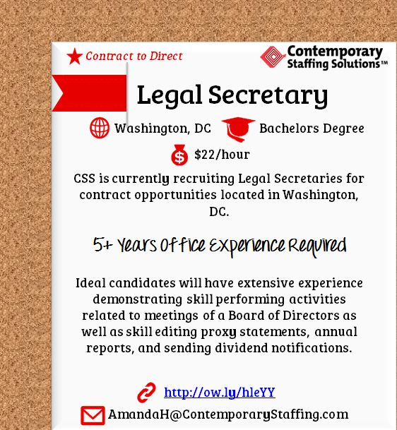 CSS is #hiring Legal Secretaries in Washington, DC l $22\/hr l - legal secretary resume