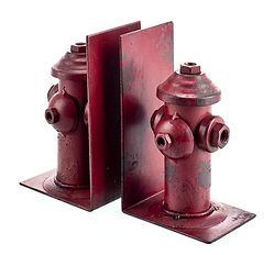 Rustic fire hydrant iron bookends rustic home or office d cor with a twist our iron bookends - Sturdy bookends ...