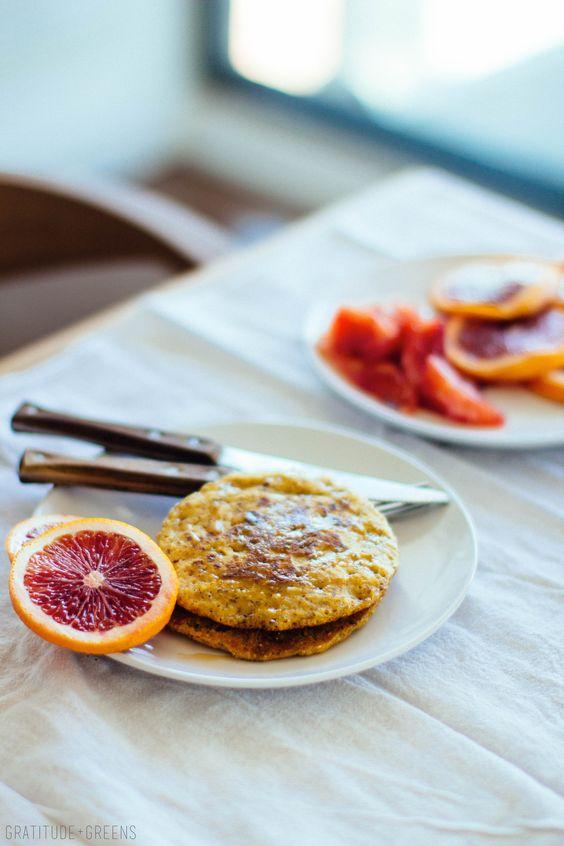 citrus olive oil polenta pancakes // gratitude and greens // #vegan #vegetarian #plantbased #breakfast #brunch:
