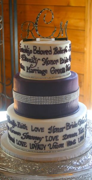3 tier fondant cake with rhinestone detail, hand piped wedding words and rhinestone cake top