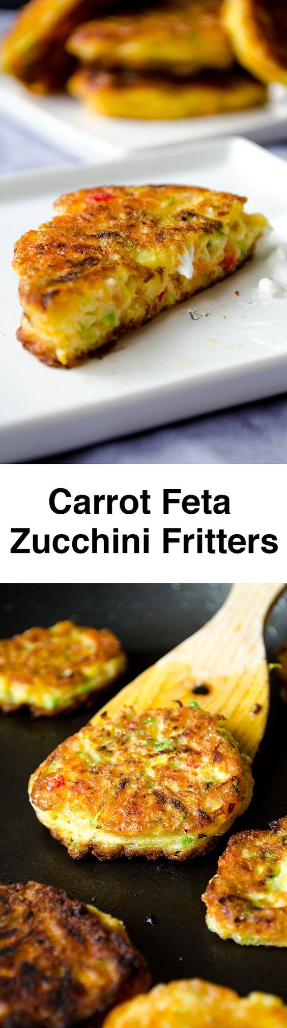 Zucchini fritters with carrot, red bell pepper and feta. A great twist ...