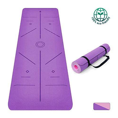 Oudort Tapis De Yoga 6 Mm Tpe Respectueux De L Environnement Tapis D Exercice Pilates Antiderapant Avec Lignes En 2020 Exercices Au Sol Tapis Yoga Accessoires De Yoga