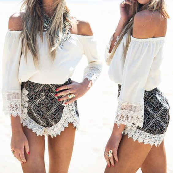 Sexy Slash Collar 3/4 Sleeve Laciness Blouse + High-Waisted Printed Shorts Women's Twinset