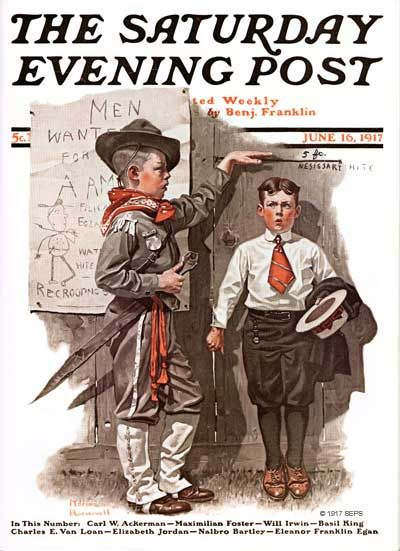 """Going back to 1917, Rockwell shows us a different kind of """"recruitment center."""" Even on tiptoe, our would-be soldier doesn't measure up to the """"nesissary hite."""" The """"recrooter,"""" decked out in a combination scout/soldier attire, was one of Rockwell's favorite early models, Billy Paine."""