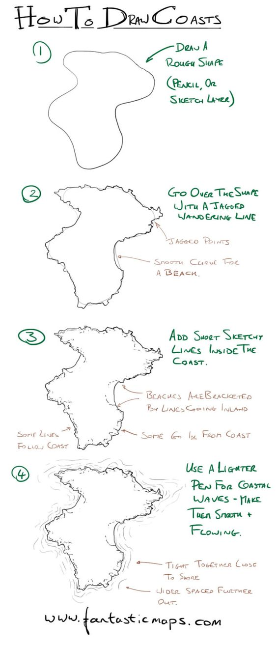 Quick tutorial on coastlines. It's easy to stop at step 1, but with only a little extra work you can get something that looks really good. #fantasy #map #tutorial #fantasticmaps