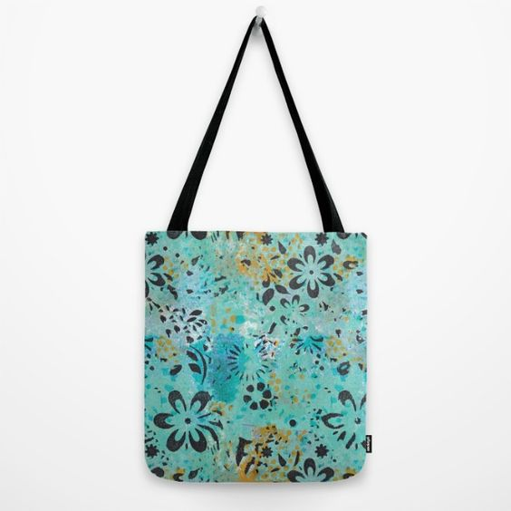 Buy Monoprint 1 - blue and yellow with black flowers Tote Bag by Shannon Martinson. Worldwide shipping available at Society6.com. Just one of millions of high quality products available.