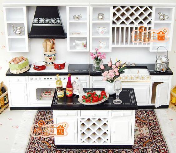 [1:12 Scale Doll House Furniture Miniature] White and Black Modern Kitchen Set, 3 Piece Set US $38.00