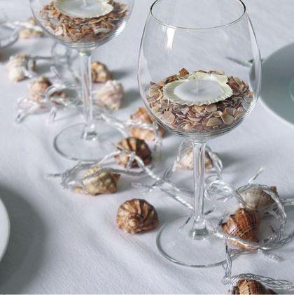 Coastal Christmas. Sea shell crafts, candle holders ideas. / Подсвечники из морских ракушек - подарок на новый год и рождество.