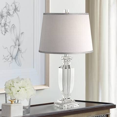 Sherry Crystal Table Lamp With Gray Shade 53x57 Lamps Plus Crystal Table Lamps Table Lamps For Bedroom Room Lamp