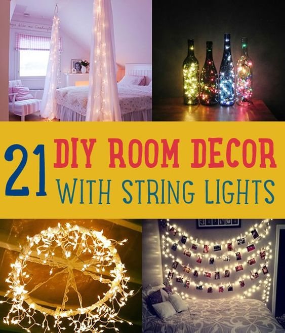 Diy headboards, String lights and Easy diy crafts on Pinterest