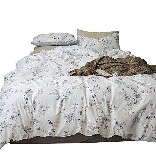 Auvoau Blue Floral 4 Pieces Duvet Cover Set Simple Floral Bedding Duvet Cover Set Queen Fitted Sheet Size Duvet Cover Sets Girls Bedding Sets Full Bedding Sets