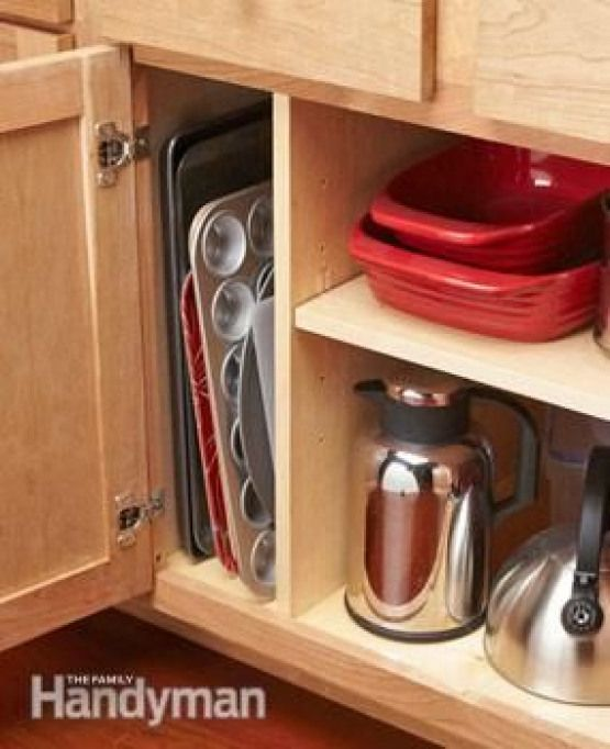 Organization Tip For Pans And Trays Add A Divider To Existing