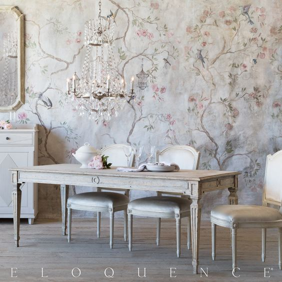 Exquisite painted mural on walls of #FrenchCountry #FrenchNordic dining room