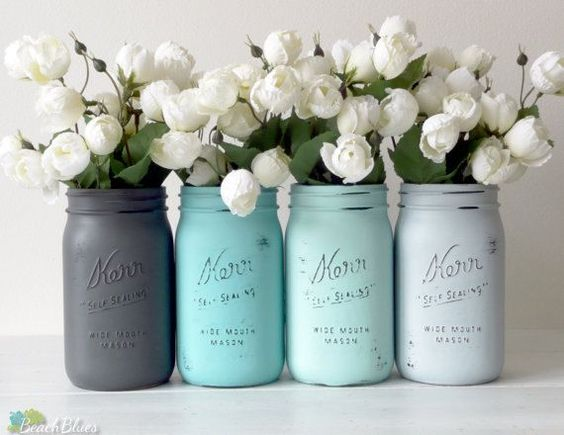 FEATURED IN ETSY SUCCESS EMAIL ! This listing is for 4 jars. All jars come with lids. I pride myself in creating unique colors and styles of painted                                                                                                                                                      More