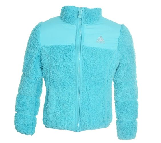Snozu Girls Fleece Jacket XS 5 6 Faux Fur Full Front Zipper Coat Blue NEW
