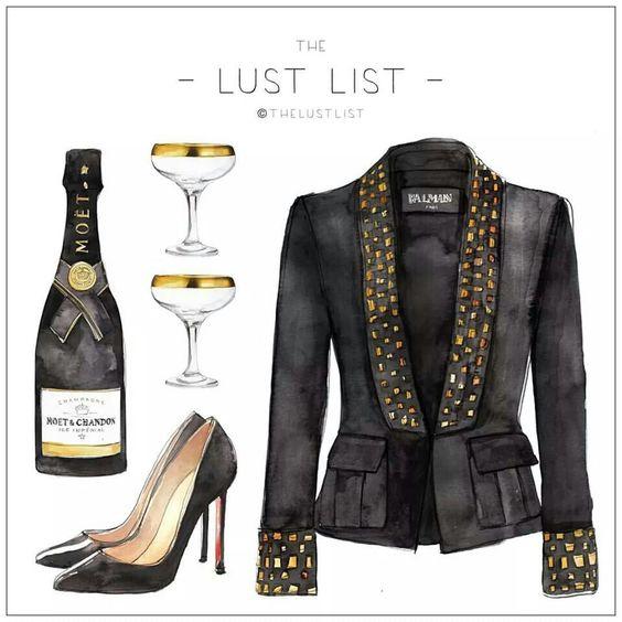 """#thelustlist #chic #fashion #girly #illustration #black #gold #golden #moet #shoes #clothes #party #noir #chaussures #champagne #vêtement #veste #or #doré #balmain - More illustrations LINE BOTWIN """"girly illustrations"""""""