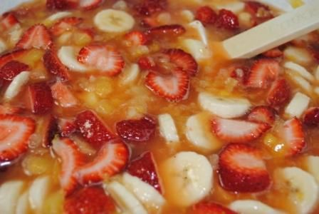 Frozen fruit salad,  pour into cups and freeze for lunches or dinners and even barb-b-q's