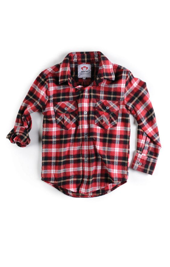 Kids Boutique Clothing - Boys Flannel Shirt/Red