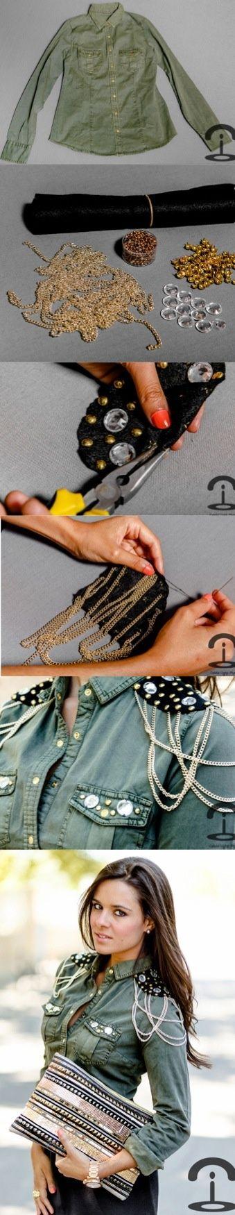 DIY Crimenes de la Moda - Military shirt - Camisa militar - chain - embellished - cadenas - gold - dorado: