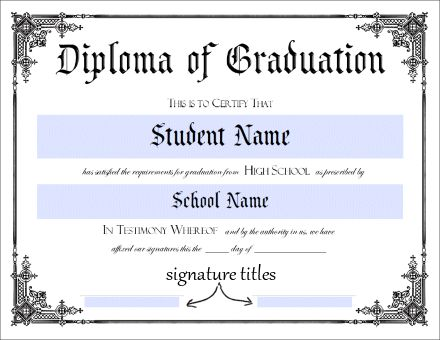 Donna young 39 s printable high school diploma this will for Free fake high school diploma templates