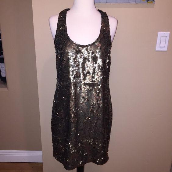 Robert Rodriguez sequin dress Gold/bronze sequin scoop neck tank ...