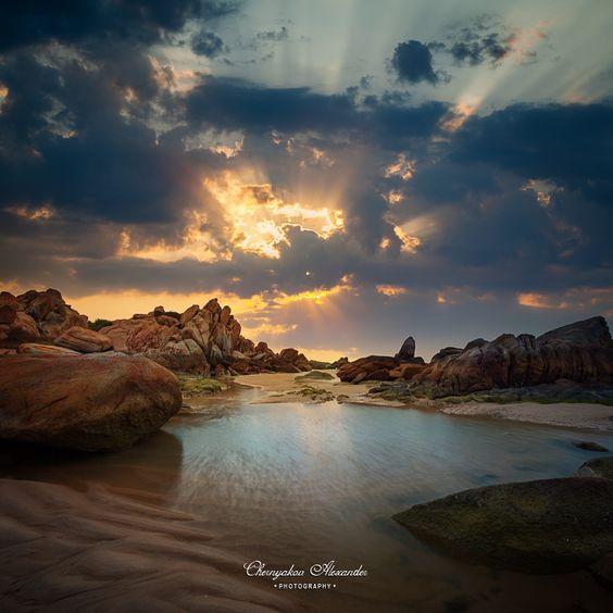 Sunset over rocky coastline, Ke Ga, Vietnam http://viaggi.asiatica.com/