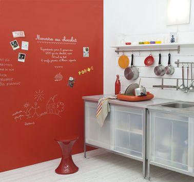 Peinture tableau rouge sur mur cuisine gribouille - Mur cuisine rouge ...