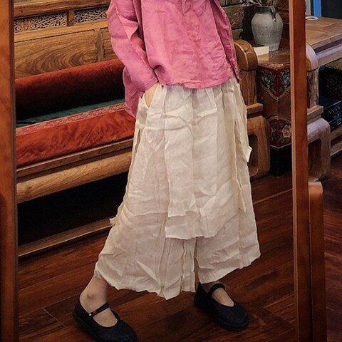 Vrouwen Losse Ramee Zomer Effen Kleur Elastische Taille