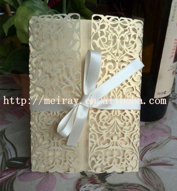 Elegant Unique Wedding Invitation CardsLight Gold Pearl Paper Chinese InvitationsLaser Cutting Card