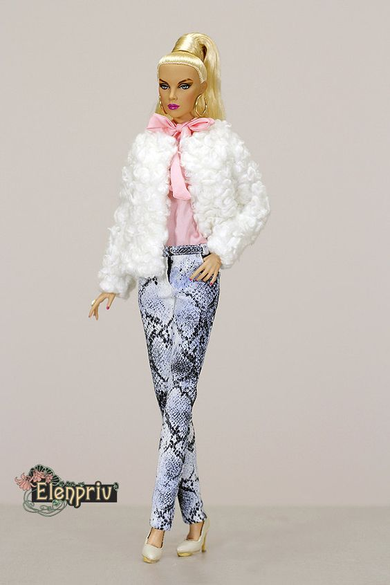 """ELENPRIV white curly fur jacket with full satin lining for Fashion royalty FR ITBE 16"""" and similar body size dolls. by elenpriv on Etsy"""