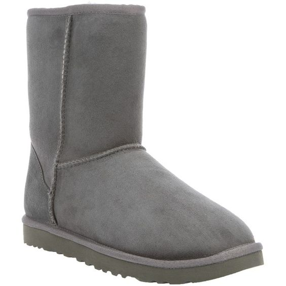 UGG snow boot ($170) ❤ liked on Polyvore featuring shoes, boots, uggs, zapatos, grey shoes, grey suede boots, round toe boots, gray suede boots and suede leather boots