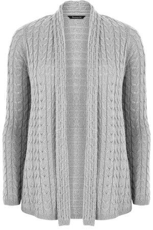Ladies Silver All Over Cable Cardigan Bonmarché