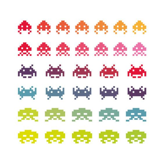 Rainbow Wall Space Invaders  giclee print  fine art by malobi, $25.00