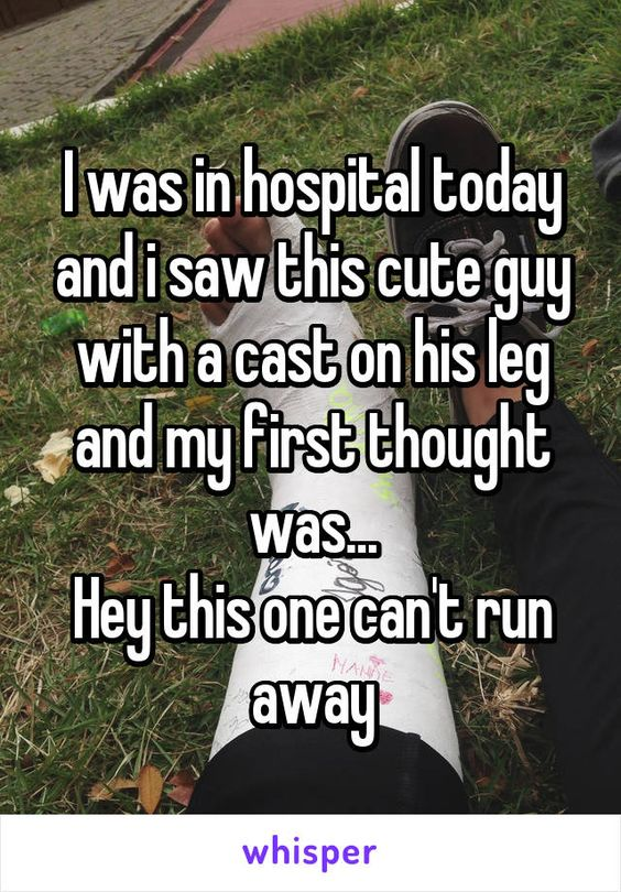 I was in hospital today and i saw this cute guy with a cast on his leg and my…:
