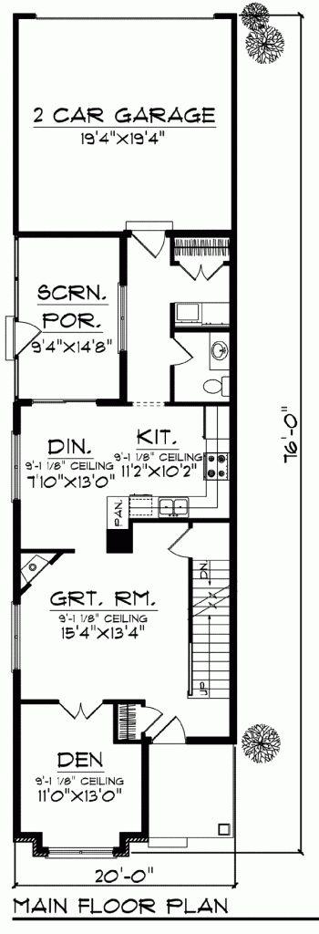 House plan 72921 cottage craftsman narrow lot plan with for Craftsman home plans for narrow lots