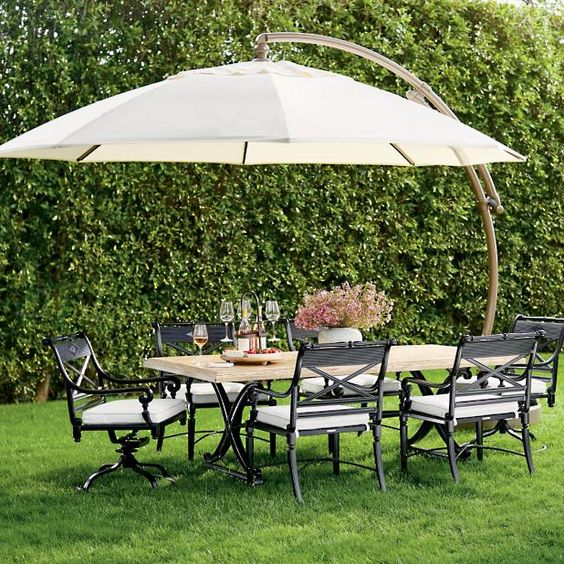 European Round Side Mount Umbrella Frontgate Patio Patio Umbrellas Backyard