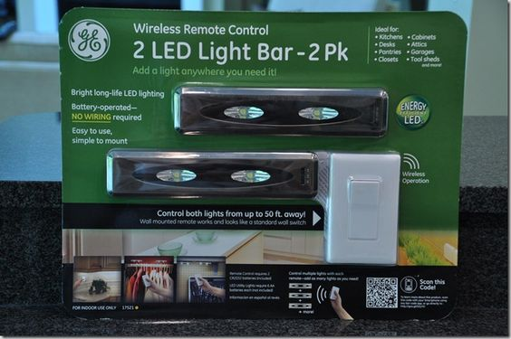 For under and over cabinet lighting. Battery powered, comes with remote control switch.