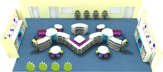 Light and Contemporary Gloss White Primary School Library Design