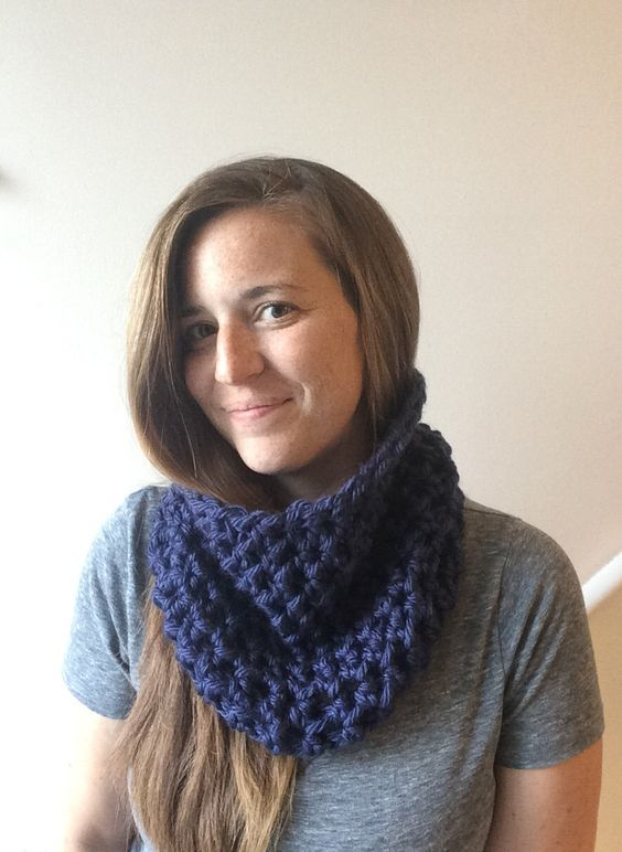 Chunky Infinity Cowl Scarf Crochet Cowl Scarf Midnight Blue Circle Scarf