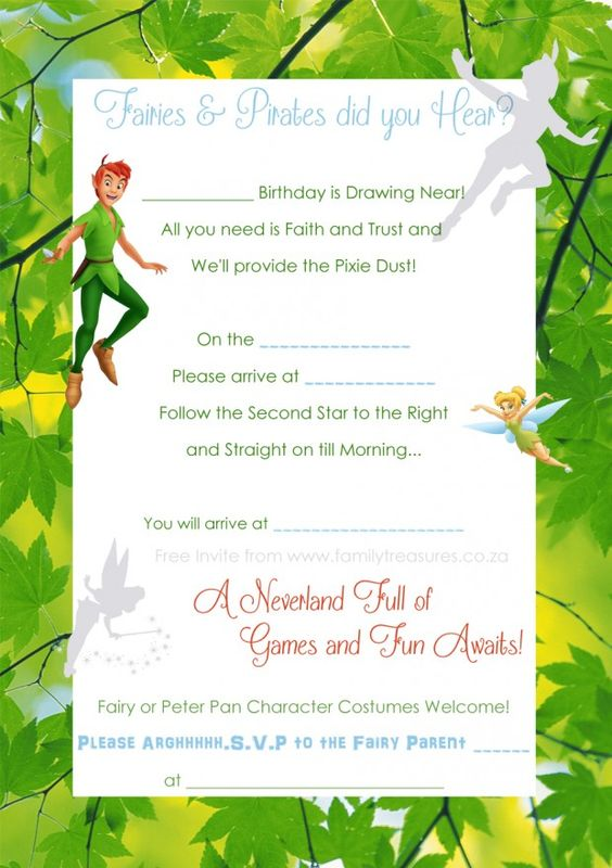 free peter pan and tinkerbell invite template fairies With peter pan invitation template