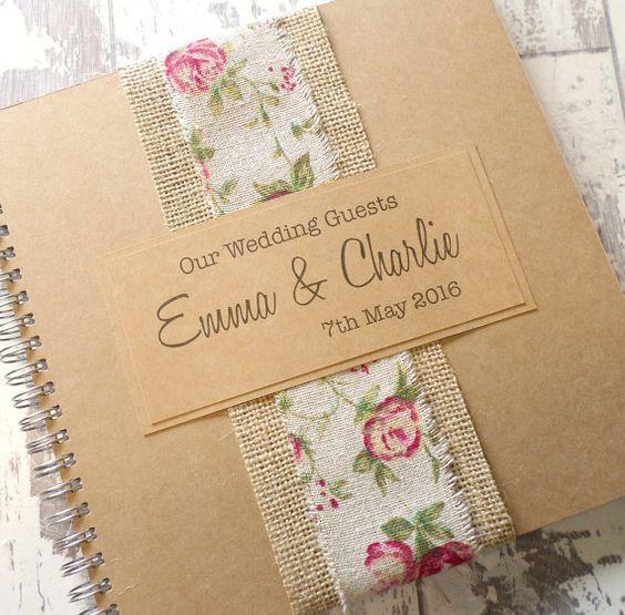 Libro de visitas arpillera rosa boda hechos a mano, Scrapbook, Wedding Planner…