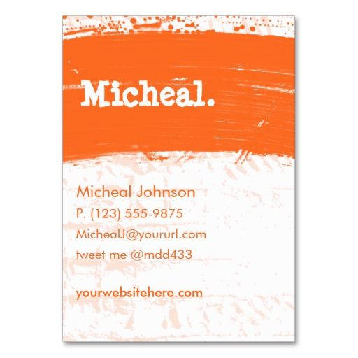Orange Grunge Personal QR Large Business Cards | CARDS: BUSINESS ...