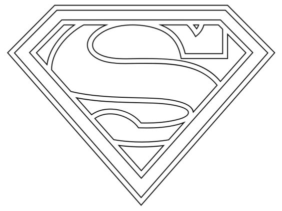 Superman logo coloring pages free party pinterest for Superman logo template for cake